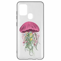 Чехол для Samsung A21s Jellyfish and flowers