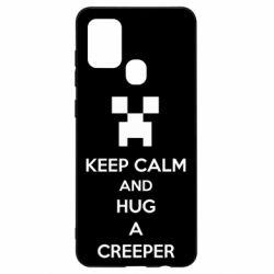 Чехол для Samsung A21s KEEP CALM and HUG A CREEPER