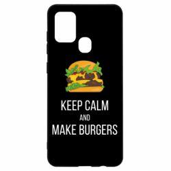 Чехол для Samsung A21s Keep calm and make burger