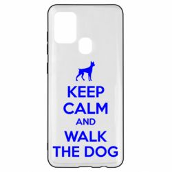 Чохол для Samsung A21s KEEP CALM and WALK THE DOG