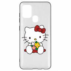 Чехол для Samsung A21s Kitty с букетиком