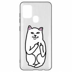 Чехол для Samsung A21s Кот с факом