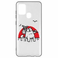Чохол для Samsung A21s Кот Саймона на фоне заката