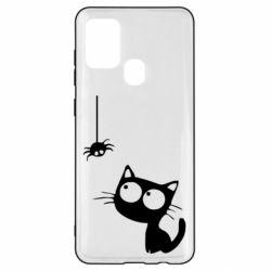 Чехол для Samsung A21s Котик и паук