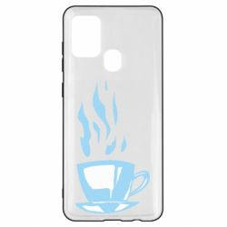 Чехол для Samsung A21s Light blue cup of coffee