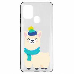 Чехол для Samsung A21s Llama in a blue hat