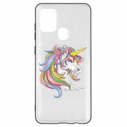 Чохол для Samsung A21s Кінь з кольоровою гривою