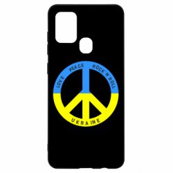 Чехол для Samsung A21s Love,peace, rock'n'roll, Ukraine