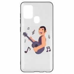 Чехол для Samsung A21s Man playing the guitar flat vector