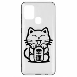 Чехол для Samsung A21s Maneki-neko, cat bringing luck