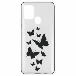 Чохол для Samsung A21s Many butterflies