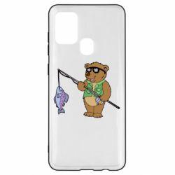 Чохол для Samsung A21s Ведмідь ловить рибу