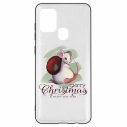 Чехол для Samsung A21s Merry Christmas and white mouse