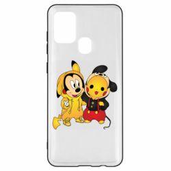 Чехол для Samsung A21s Mickey and Pikachu