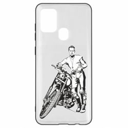 Чехол для Samsung A21s Mickey Rourke and the motorcycle