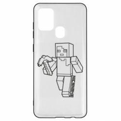 Чехол для Samsung A21s Minecraft and hero nickname