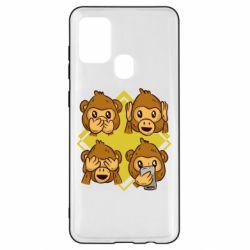Чехол для Samsung A21s Monkey See Hear Talk