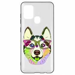 Чохол для Samsung A21s Multi-colored dog with glasses