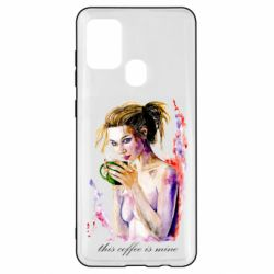 Чехол для Samsung A21s Naked girl with coffee