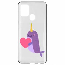 Чехол для Samsung A21s Narwhal with a heart