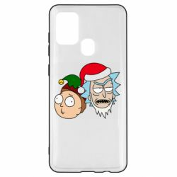 Чехол для Samsung A21s New Year's Rick and Morty