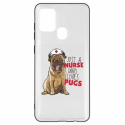 Чехол для Samsung A21s Nurse loves pugs