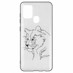 Чехол для Samsung A21s Outline drawing of a lion