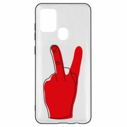 Чехол для Samsung A21s Peace and middle finger