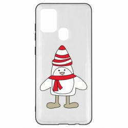 Чехол для Samsung A21s Penguin in the hat and scarf