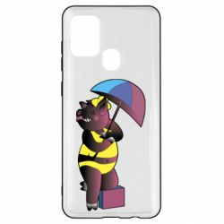 Чохол для Samsung A21s Pig with umbrella