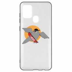 Чохол для Samsung A21s Pigeon with skateboard