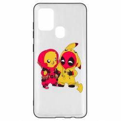Чехол для Samsung A21s Pikachu and deadpool