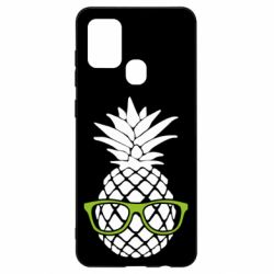 Чехол для Samsung A21s Pineapple with glasses