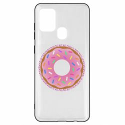 Чохол для Samsung A21s Pink donut on a background of patterns
