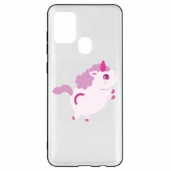 Чехол для Samsung A21s Pink Unicorn and rainbow