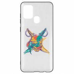 Чохол для Samsung A21s Pirate skull and paint strokes