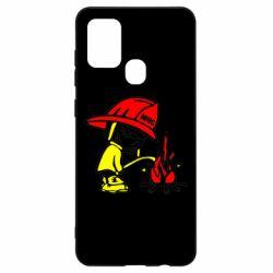 Чехол для Samsung A21s Писающий хулиган-пожарный