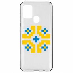 Чехол для Samsung A21s Pixel pattern blue and yellow