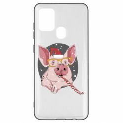 Чохол для Samsung A21s Portrait of the pink Pig in a red Santa's cap