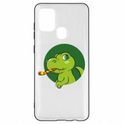 Чохол для Samsung A21s Святковий динозавр