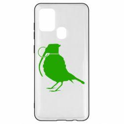 Чехол для Samsung A21s Птичка с гранатой