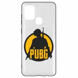 Чехол для Samsung A21s PUBG logo and game hero