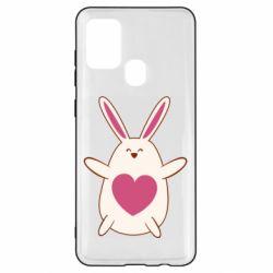 Чехол для Samsung A21s Rabbit with a pink heart
