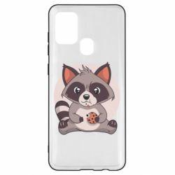 Чохол для Samsung A21s Raccoon with cookies