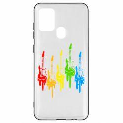 Чехол для Samsung A21s Разноцветные гитары