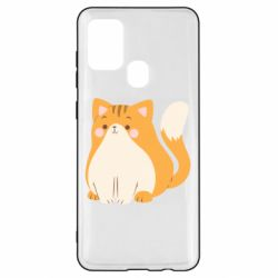 Чехол для Samsung A21s Red cat with stripes