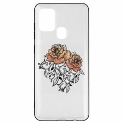 Чохол для Samsung A21s Roses with patterns
