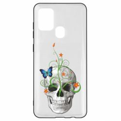 Чехол для Samsung A21s Skull and green flower