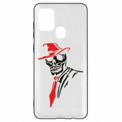 Чехол для Samsung A21s Skull in a hat with a tie