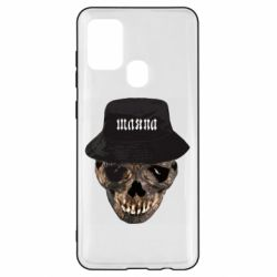 Чехол для Samsung A21s Skull in hat and text